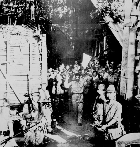 American troops surrender at Corregidor (Philippines) in May of 1942.